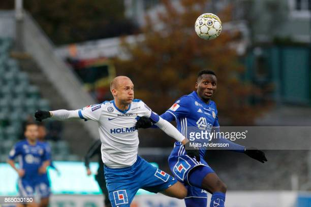Peter Wilson of GIF Sundsvall and Andreas Johansson of IFK Norrkoping during the Allsvenskan match between GIF Sundsvall and IFK Norrkoping at...