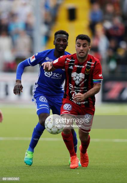 Peter Wilson of GIF Sundsvall and Brwa Nouri of Ostersunds FK competes for the ball during the Allsvenskan match between Ostersunds FK and GIF...