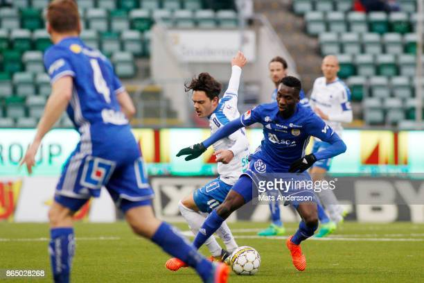 Peter Wilson of GIF Sundsvall and David Moberg Karlsson of IFK Norrkoping during the Allsvenskan match between GIF Sundsvall and IFK Norrkoping at...
