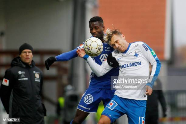 Peter Wilson of GIF Sundsvall and Linus Wahlqvist of IFK Norrkoping during the Allsvenskan match between GIF Sundsvall and IFK Norrkoping at...