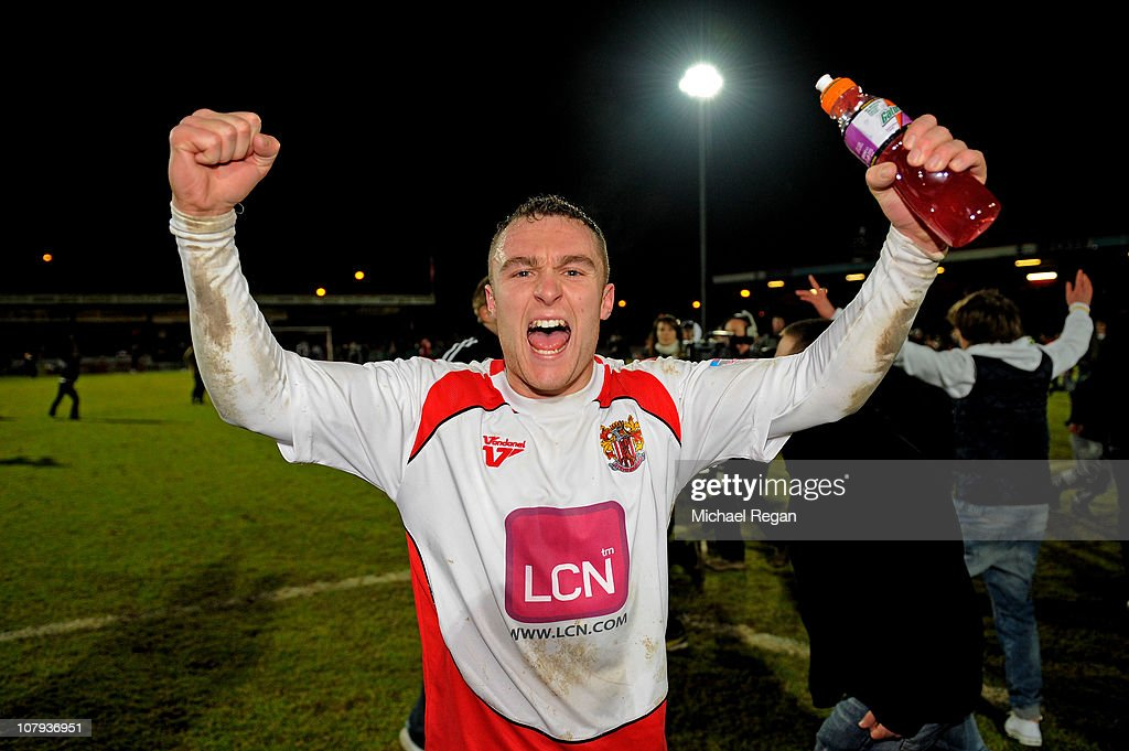 Peter Winn of Stevenage celebrates following his team's 31 victory during the FA Cup sponsored by EON 3rd round match between Stevenage and Newcastle...