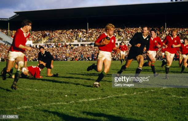 Peter Winterbottom of the British Lions makes a break during the second test test match between New Zealand and the British Lions at Athletic Park on...