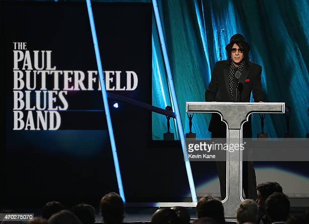 Peter Wolf inducts the Paul Butterfield Blues Band onstage during the 30th Annual Rock And Roll Hall Of Fame Induction Ceremony at Public Hall on...