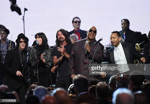 Peter Wolf Karen O Dave Grohl Stevie Wonder and John Legend perform onstage during the 30th Annual Rock And Roll Hall Of Fame Induction Ceremony at...