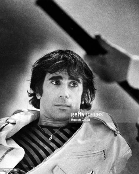 Peter Wolf lead singer of the J Geils Band is pictured on the set of the band's 'Freeze Frame' music video at Central Studios in Boston on Feb 9 1982