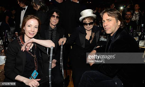 Peter Wolf Yoko Ono and Matt Nye attend the 30th Annual Rock And Roll Hall Of Fame Induction Ceremony at Public Hall on April 18 2015 in Cleveland...