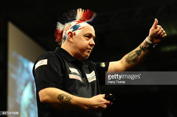 Peter Wright celebrates during Night Five of the Betway Premier League Darts at Westpoint Arena on March 2 2017 in Exeter England