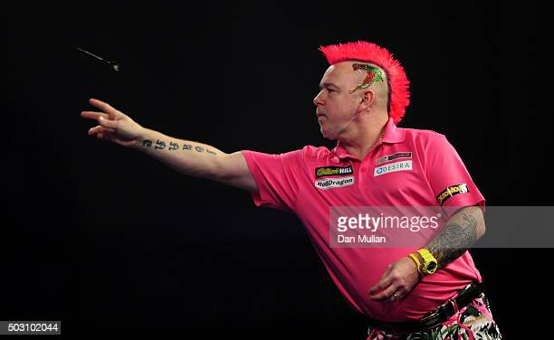 Peter Wright of Scotland throws during his quarter final match against Adrian Lewis of England during Day Thirteen of the 2016 William Hill PDC World...