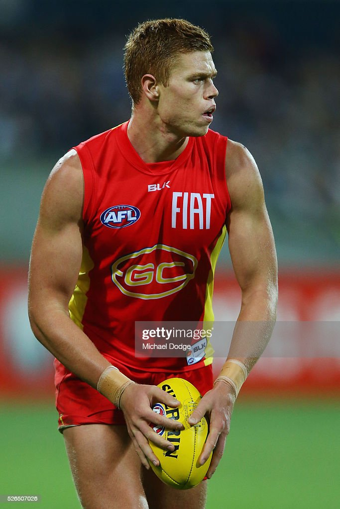 Peter Wright of the Suns looks upfield during the round six AFL match between the Geelong Cats and the Gold Coast Suns at Simonds Stadium on April 30, 2016 in Geelong, Australia.