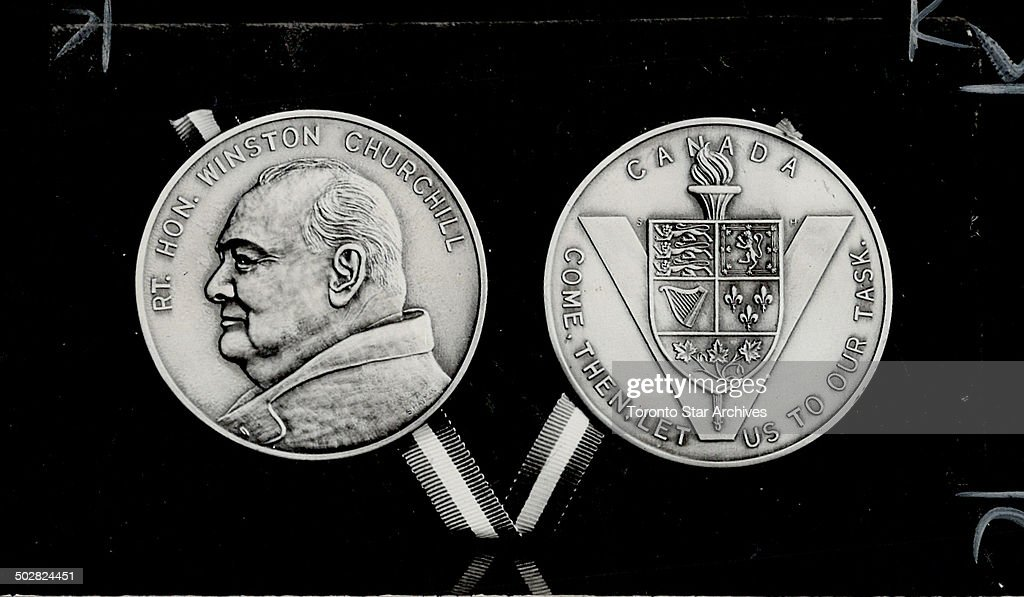 Peterboro April 13 Stanley Hayman 32oldold medallic engraver has struck a bronze medal to commemorate the visit of Prime Minister Winston ada in...