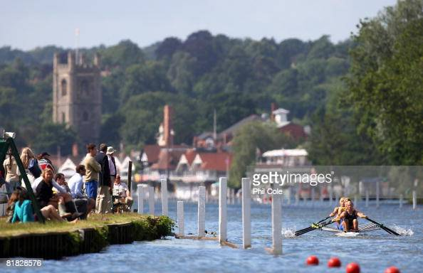Peterborough City Rowing Club and Nottingham Rowing Club compete in the FawleyChallenge Cup during the Henley royal Regatta on July 5 2008 in...