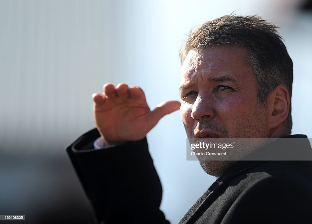 Peterborough manager <a gi-track='captionPersonalityLinkClicked' href=/galleries/search?phrase=Darren+Ferguson&family=editorial&specificpeople=2316983 ng-click='$event.stopPropagation()'>Darren Ferguson</a> before the npower Championship match between Peterborough United and Cardiff City at London Road on March 30, 2013 in Peterborough, England,