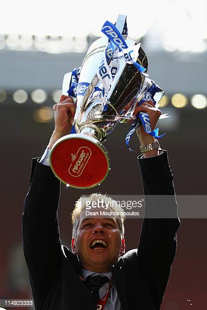 Peterborough Manager Darren Ferguson celebrates with the trophy after winning the npower League One Play off Final between Peterborough United and...