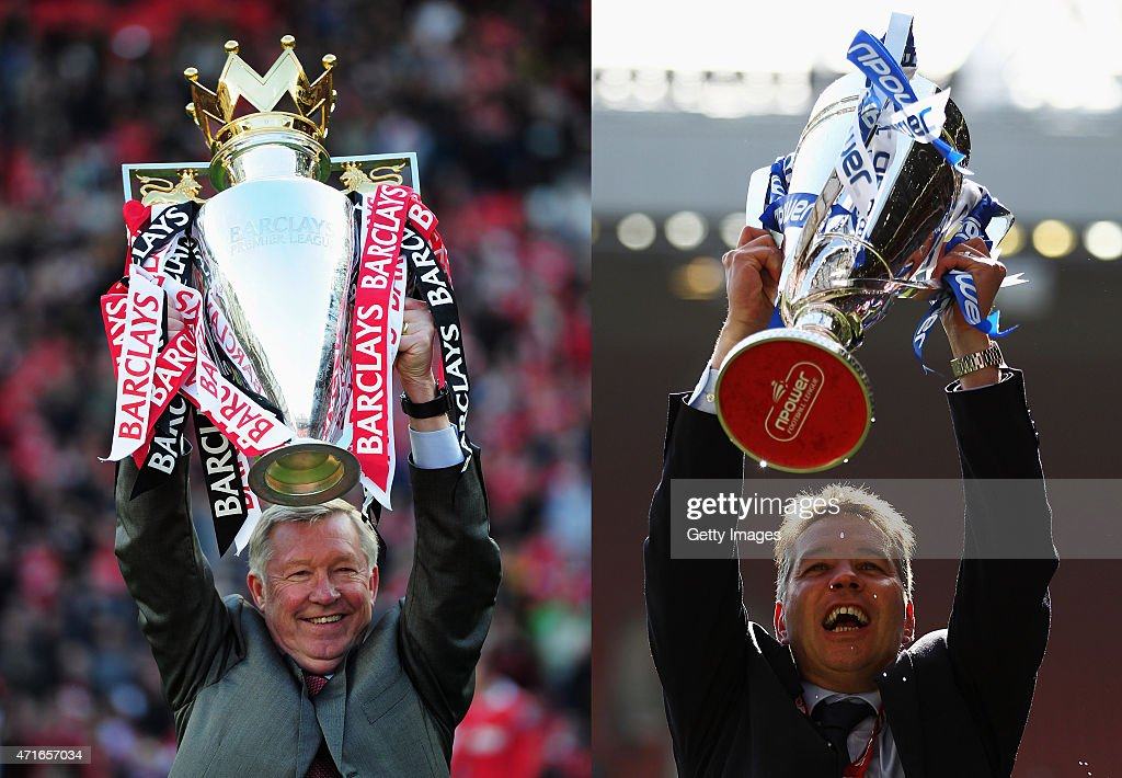 In this composite image a comparison has been made between images (L-R) 114497769 and 114923333 of Father (L) and Son (R). Sir <a gi-track='captionPersonalityLinkClicked' href=/galleries/search?phrase=Alex+Ferguson&family=editorial&specificpeople=203067 ng-click='$event.stopPropagation()'>Alex Ferguson</a> manager of Manchester United lifts the Premier League trophy after the Barclays Premier League match between Manchester United and Blackpool at Old Trafford on May 22, 2011 in Manchester, England. Manchester United celebrate a record 19th league championship. Peterborough Manager, <a gi-track='captionPersonalityLinkClicked' href=/galleries/search?phrase=Darren+Ferguson&family=editorial&specificpeople=2316983 ng-click='$event.stopPropagation()'>Darren Ferguson</a> celebrates with the trophy after winning the npower League One Play off Final between Peterborough United and Huddersfield Town at Old Trafford on May 29, 2011 in Manchester, England.