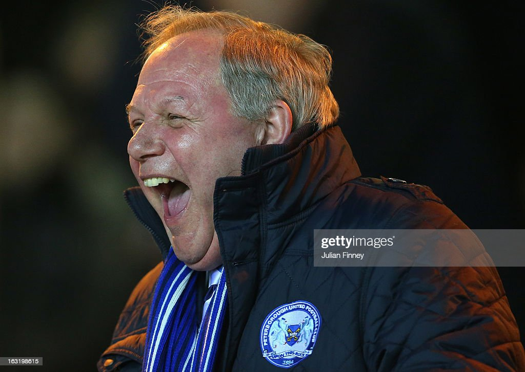 Peterborough United Director of Football, Barry Fry enjoys a joke before the npower Championship match between Peterborough United and Charlton Athletic at London Road Stadium on March 5, 2013 in Peterborough, England.