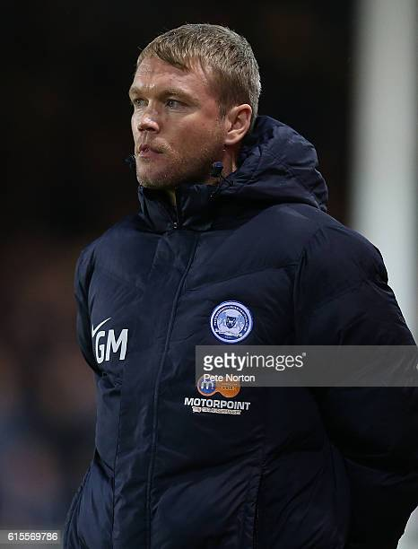 Peterborough United manager Grant McCann looks on during the Sky Bet League One match between Peterborough United and Northampton Town at ABAX...