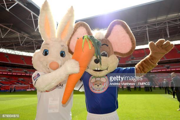 Peterborough United mascot Peter Burrow and Chesterfield mascot Chester the Field Mouse pose for a photo before the game