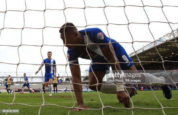 Peterborough United's Britt Assombalonga celebrates scoring the opening goal against Leyton Orient during the Sky Bet League One Playoff Semi Final...