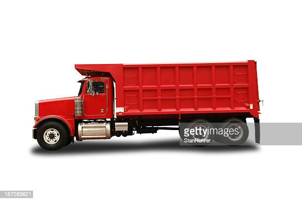 Peterbult red toy dump truck isolated on white background