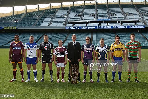 Petero Civoniceva of the Broncos Andrew Ryan of the Bulldogs Steven Price of the Warriors Matt Orford of the Sea Eagles NRL CEO David Gallop Cameron...