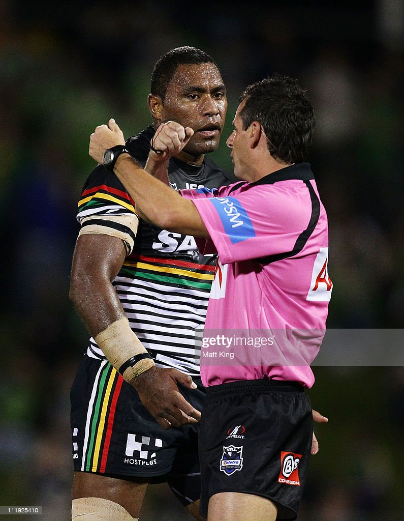 Petero Civoniceva of the Panthers is put on report by referee Gavin Badger during the round five NRL match between the Penrith Panthers and the Canberra Raiders at Centrebet Stadium on April 9, 2011 in Sydney, Australia.