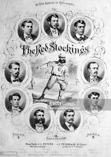 JL Peters publishers employ a collage of portraits of the members of the Cincinnati Red Stockings baseball team to decorate the sheet music entitled...