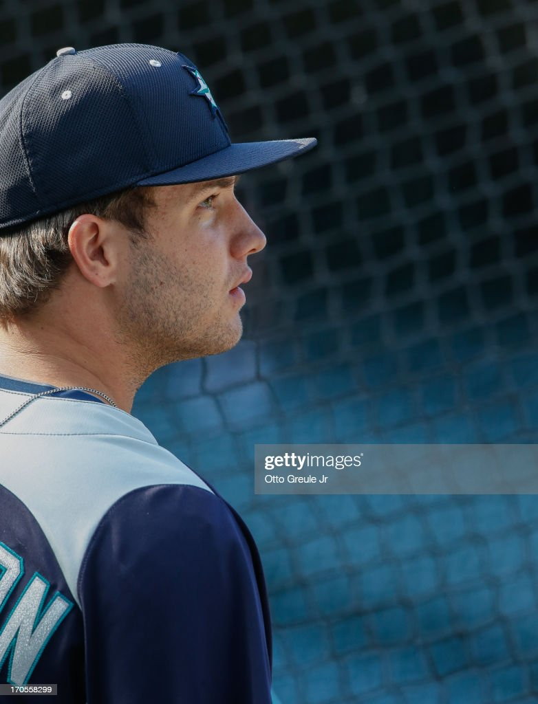DJ Peterson, 12th round draft pick of the Seattle Mariners, looks on during batting practice prior to the game against the Houston Astros at Safeco Field on June 12, 2013 in Seattle, Washington.