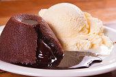 Petit gateau with chocolate syrup stuffed and vanilla ice cream