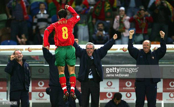 Petit of Portugal celebrates his goal during the World Cup Group 3 match between Portugal and Russia on October 13 2004 at the Estadio Jose Alvalade...