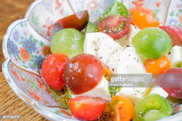 Petit tomatoes and mozzarella