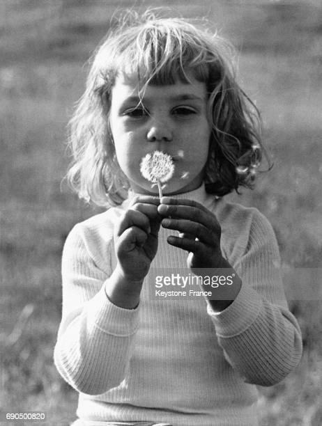 Petite fille soufflant sur une fleur de pissenlit