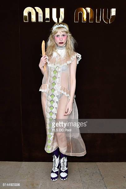 Petite Meller attends the Miu Miu show as part of the Paris Fashion Week Womenswear Fall / Winter 2016 on March 9 2016 in Paris France
