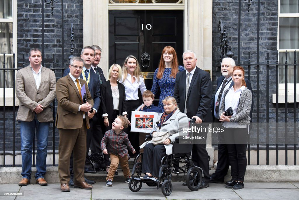 A petition is delivered to 10 Downing Street by family members of the Chennai Six on October 12, 2017 in London, United Kingdom. The Chennai Six refers to the six British ex-soldiers who were jailed in India four years ago for firearms offences.