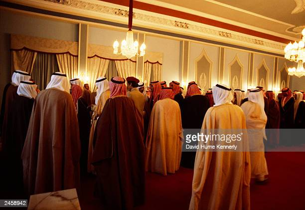Petitioners wait for King Khaled to convene a Majlis in the Royal Palace in 1978 in Riyadh Saudi Arabia