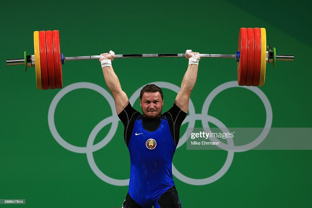 Petr Asayonak of Belarus during the Weightlifting Men's 85kg on Day 7 of the Rio 2016 Olympic Games at Riocentro Pavilion 2 on August 12 2016 in Rio...
