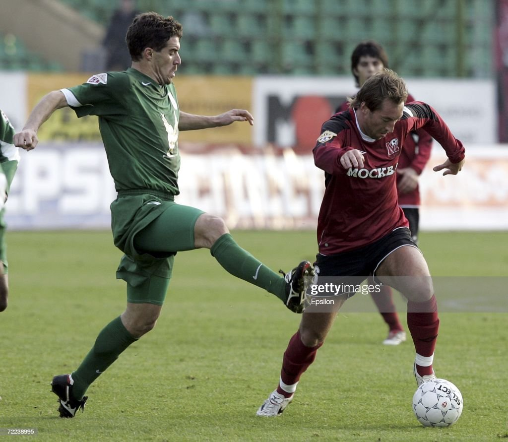 Petr Bistrov of FC Moskva competes against Andres Scotti of FC Rubin Kazan during the Russian League football championship match between FC Moscow...
