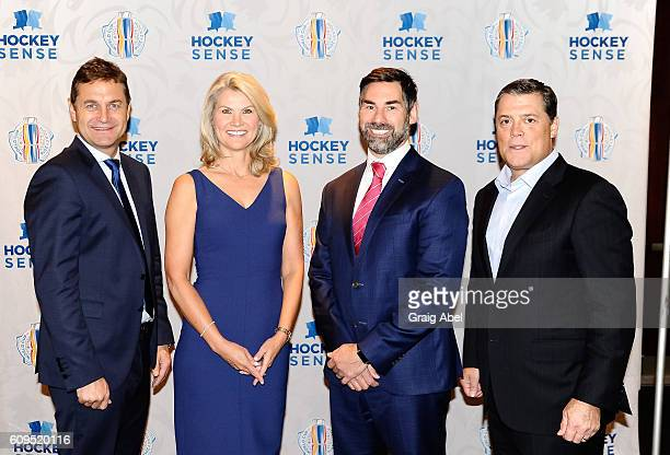 Petr Briza Christine Simpson Mathieu Schneider and Pat LaFontaine at Hockey SENSE in partnership with the NHL NHLPA and Beyond Sport at the World Cup...
