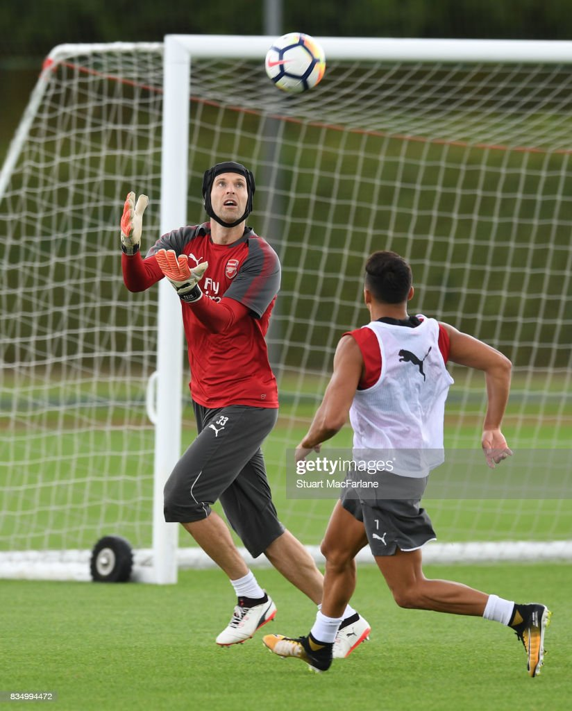 Petr Cech and Alexis Sanchez of Arsenal during a training session at London Colney on August 18, 2017 in St Albans, England.