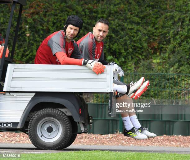 Petr Cech and David Ospina of Arsenal before a training session at London Colney on July 28 2017 in St Albans England