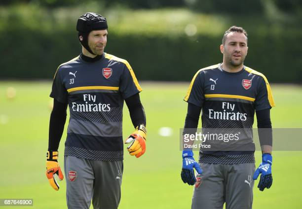 Petr Cech and David Ospina of Arsenal during the Arsenal Training Session at London Colney on May 24 2017 in St Albans England