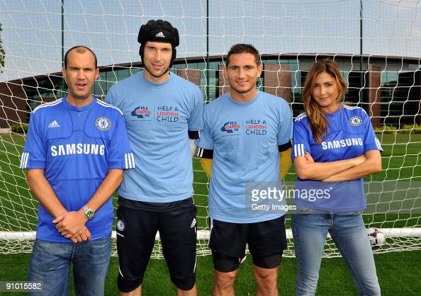 Petr Cech and Frank Lampard of Chelsea with Capital Radio's Lisa Snowdon and Johnny Vaughan during the launch of Chelsea FC's partnership with...