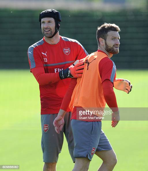 Petr Cech and Shkodran Mustafi of Arsenal during a training session at London Colney on September 23 2016 in St Albans England