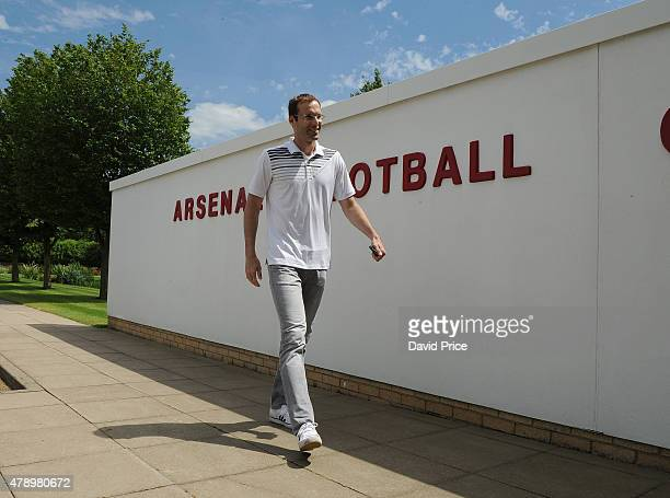 Petr Cech arrives at Arsenal Football Club Training Ground at London Colney on June 26 2015 in St Albans England