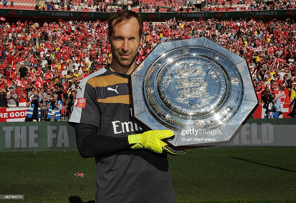 Petr Cech celebrates after the FA Community Shield match between Chelsea and Arsenal at Wembley Stadium on August 2, 2015 in London, England.
