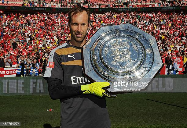 Petr Cech celebrates after the FA Community Shield match between Chelsea and Arsenal at Wembley Stadium on August 2 2015 in London England