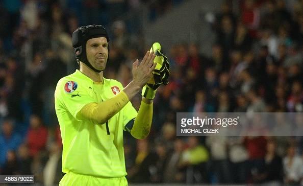 Petr Cech goalkeeper of Czech Republic celebrates after the UEFA Euro 2016 qualifying round football match Kazakhztan vs Czech Republic on September...