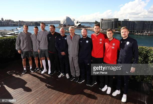 Petr Cech Laurent Koscielny and Per Mertesacker of Arsenal Wanderers coach Tony Popovic Sydney FC Coach Graham Arnold Arsenal Manager Arsene Wenger...