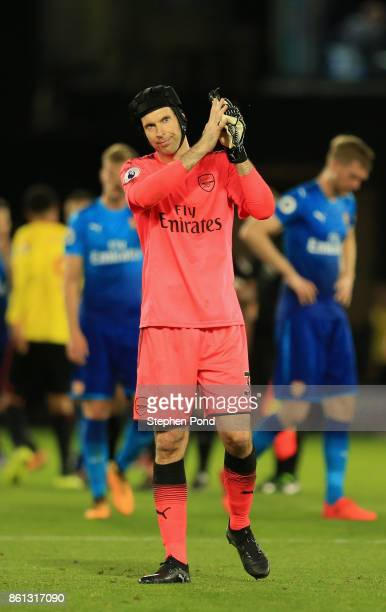 Petr Cech of Arsenal applauds the crowd after during the Premier League match between Watford and Arsenal at Vicarage Road on October 14 2017 in...
