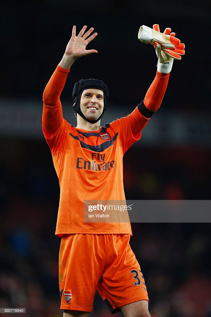 Petr Cech of Arsenal applauds the fans after his team's 2-0 win in the Barclays Premier League match between Arsenal and A.F.C. Bournemouth at Emirates Stadium on December 28, 2015 in London, England.