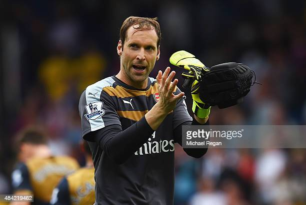 Petr Cech of Arsenal celebrates after the Barclays Premier League match between Crystal Palace and Arsenal at Selhurst Park on August 16 2015 in...